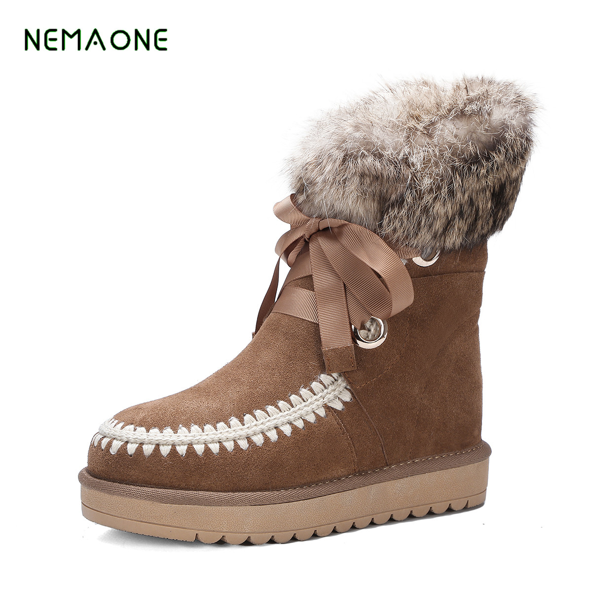 NEMAONE 2017 NEW Wool Genuine Leather Women s boots fur one thick warm snow boots warm
