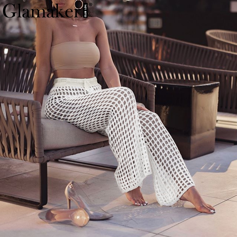 Glamaker Transparent mesh white sexy   pants   Women knitting wide leg casual   capri   trousers Party club summer spring bottoms   pants