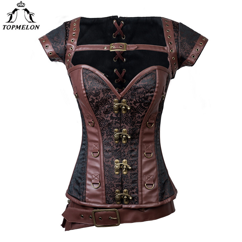 TOPMELON Sexy Corset Steampunk Corset Corselet Bustier Gothic Corset Women Retro Leather D Ring Buckles Short SleeveTops 6XL