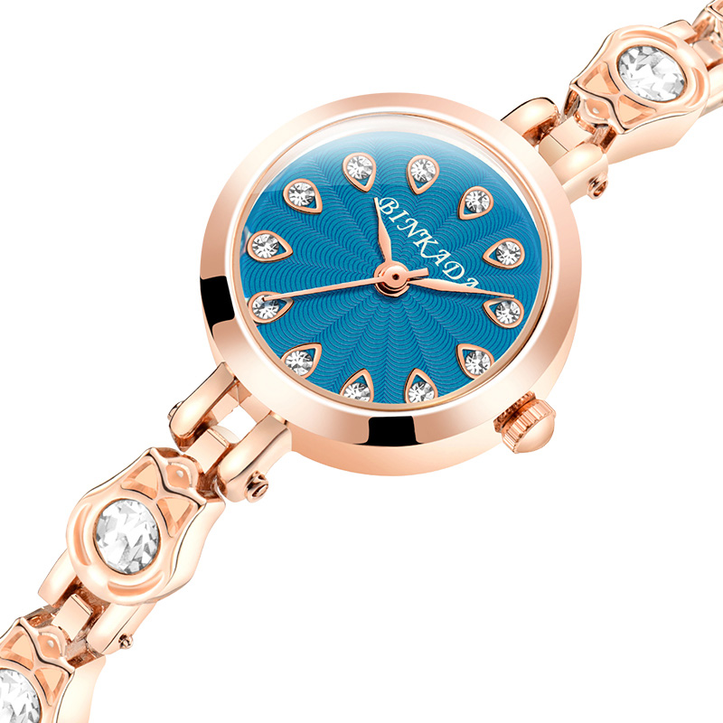 Newest BINKADA Brand Fashion Luxury Rhinestone Bracelet Watch Ladies Quartz Watch Casual Women Wrist Watches Relogio Feminino luxury fashion brand bracelet watches women men casual quartz watch leather wrist watch wristwatch clock relogio feminino