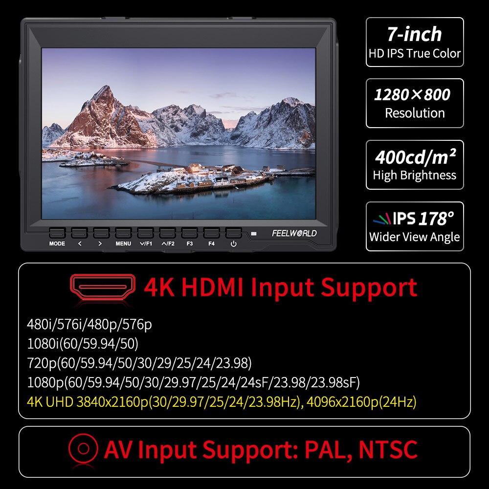 FEELWORLD FW759 7 pouces DSLR caméra moniteur de terrain 4K HDMI AV entrée IPS HD 1280x800 LCD affichage vidéo assistance pour Sony Nikon Canon - 2
