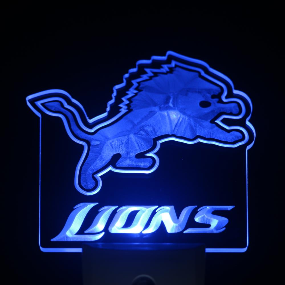 ws0172 Detroit Lions Day Night Sensor Led Night font b Light b font Sign