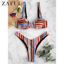 4f4f68c5b ZAFUL New Rainbow Underwire Bikini Set Push Up High Cut Bikini Set Low  Waist Striped Swimsuit Brazilian Sexy Thong Bikini