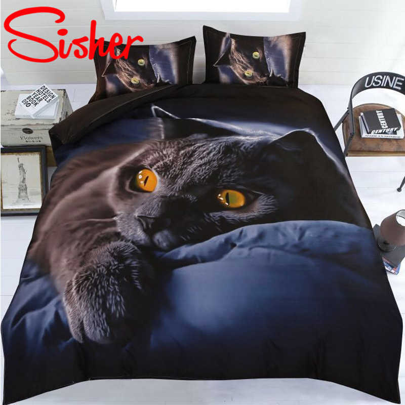 Sisher Adult Duvet Cover Set 3D Printed Animal Cat Comforter 4pcs Bedding Sets King Size Single Full Double bed linen flat sheet