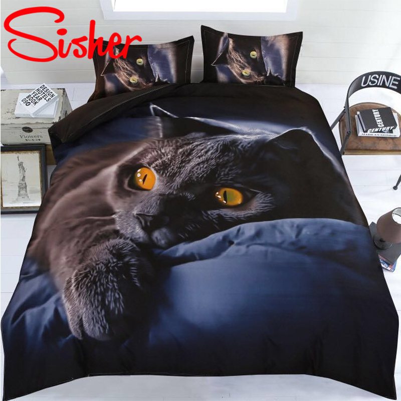 Sisher Adult Duvet Cover Set 3D Printed Animal Cat Comforter 4pcs Bedding Sets King Size Single Full Double Bed Linen Flat Sheet