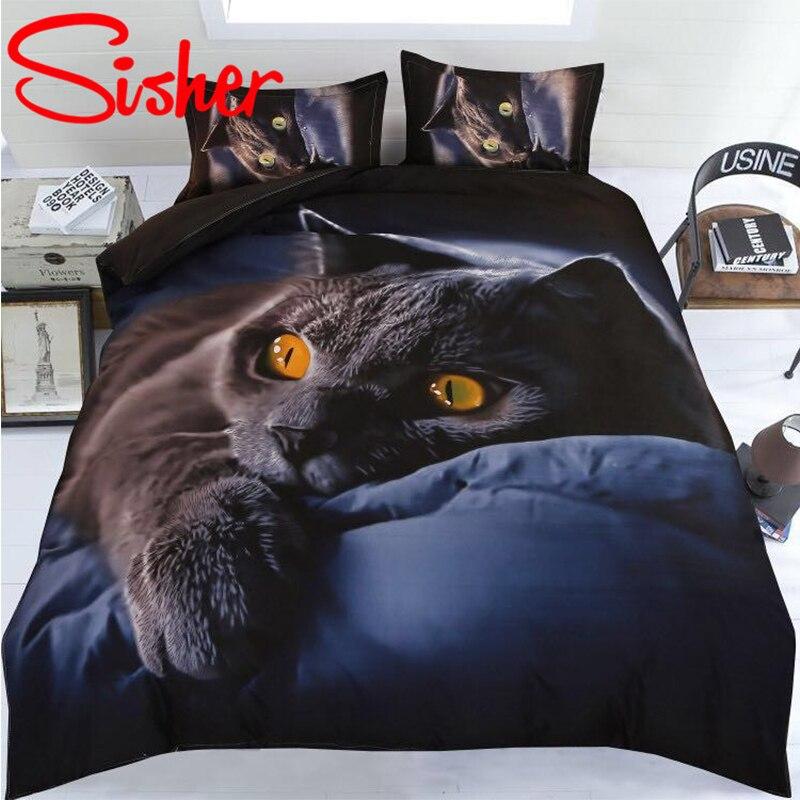 Sisher, juego de edredón para adultos, edredón con estampado 3D de animales y gatos, juegos de cama de 4 uds, cama individual de tamaño King, Sábana plana de lino Doble