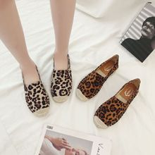 2019 autumn new fashion simple leopard straw straw fisherman shoes women suede comfortable wild casual flat shoes white straw fisherman sandals