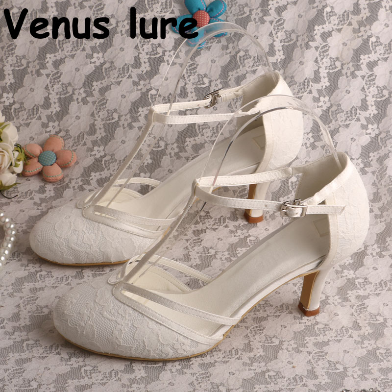 Detail Feedback Questions about Lace Sandals for Women Wedding T strap  Ivory Wedding Shoes for Bride 3 Inch on Aliexpress.com  2cae338bd4d5