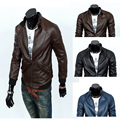 2015 PU autumn and winter outerwear slim motorcycle jacket short design leather jacket thin PU coats