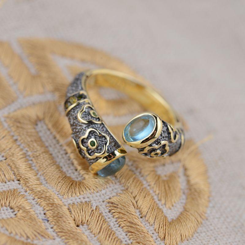 Véritable topaze incrustation 925 bague en argent pur pour femmes fille à la main émail cloisonné cadeau anneau Thai argent bijoux accessoires
