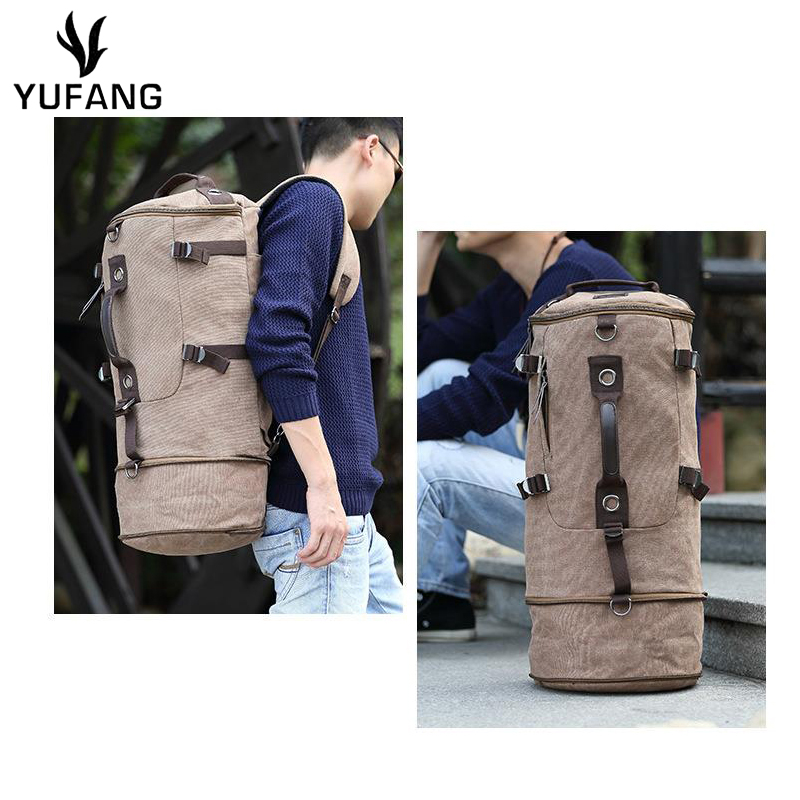 5e776b375b YUFANG Pure Cotton Canvas Men s Travel Bags American Style Men s Backpack  Casual Hand Luggage Travel Backpack