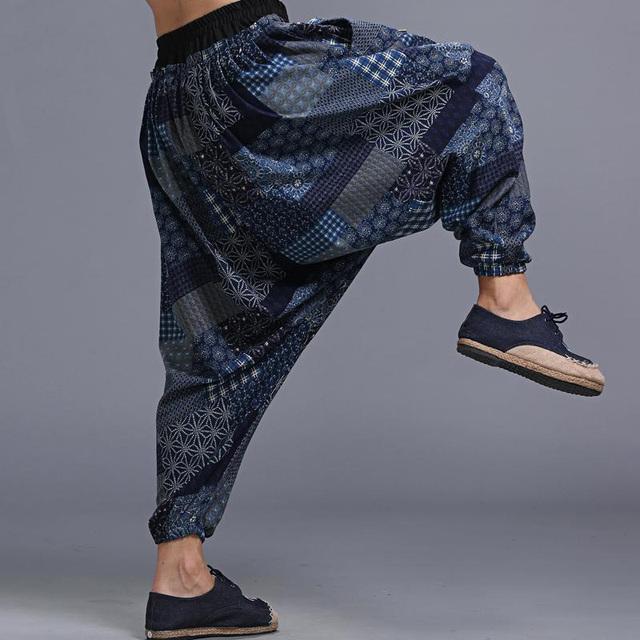 En Stock (Envío 24 H) hombres Otoño Pantalones Grandes Entrepierna Pantalones Harem Ocasional Bloomers de Viaje Cómodo Pantalones de Lino de algodón