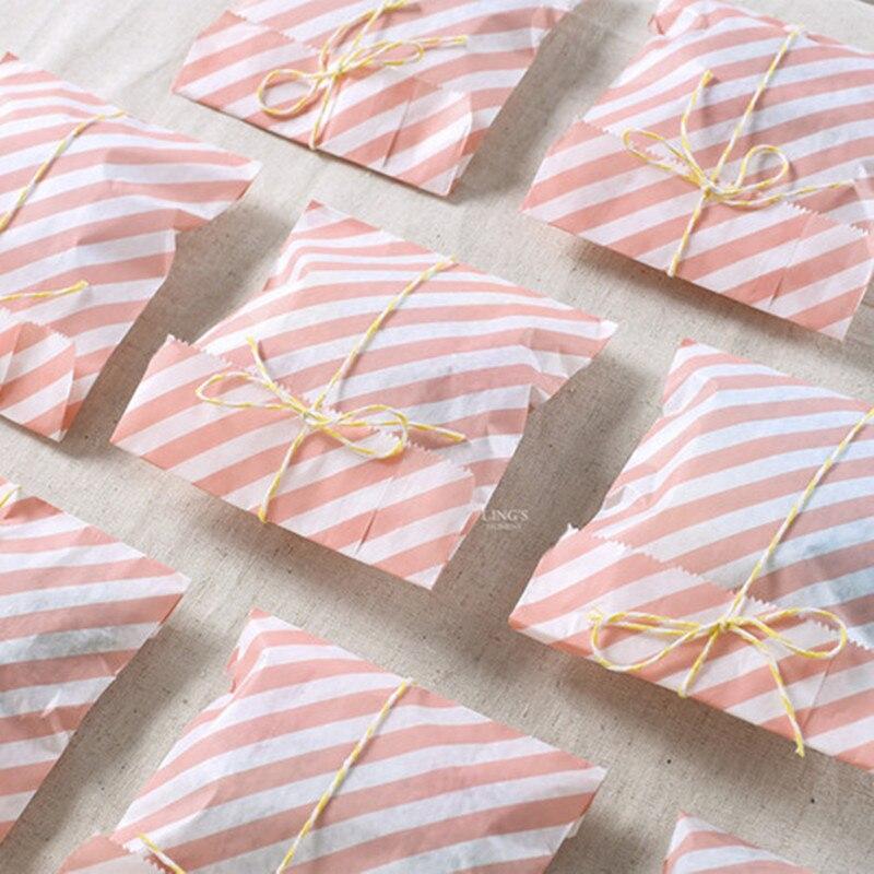 Красочные полосы greaseproof крафт бумага подарок еда упаковка торт из конфет бумажные пакеты для хлеба