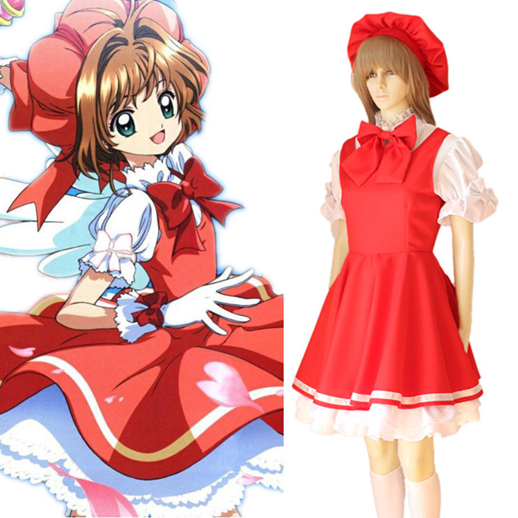 Cardcaptor Sakura Kinomoto Sakura Cosplay Costume Magical Girl Bow Lolita Party Dress With Hat Japanese Maid