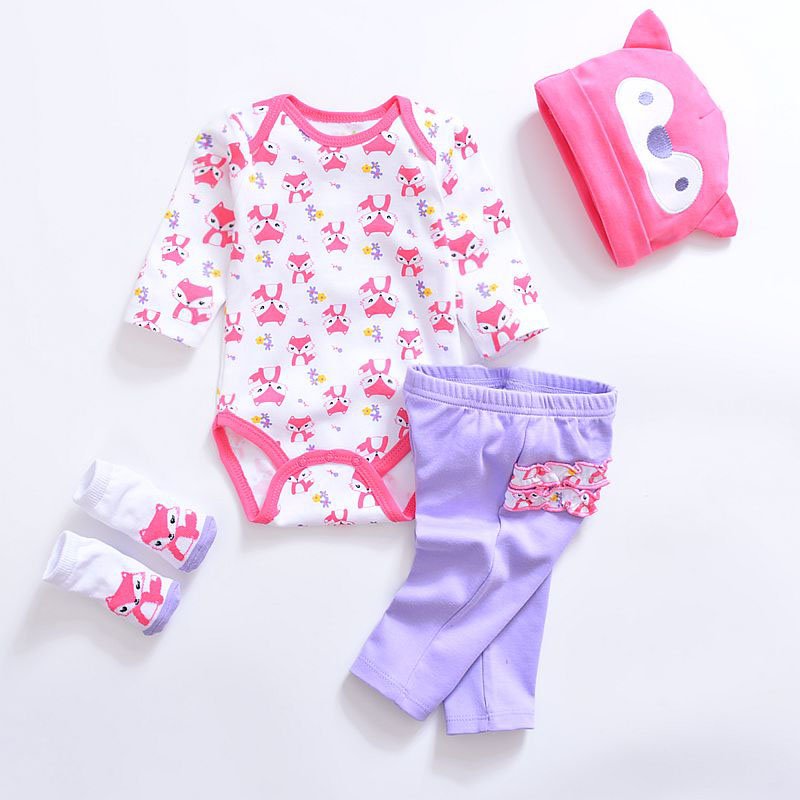 Baby Clothing Sets Cotton Newborn Baby Boy Clothes Long Sleeve Girls Clothing Sets 4PCS Infant Baby Rompers+Pants+Socks+Hats