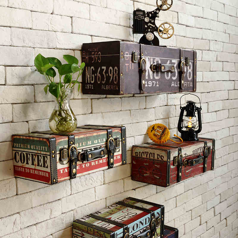 Vintage PU Luggage leather suitcase painting ktv bar decorative painting wall decoration