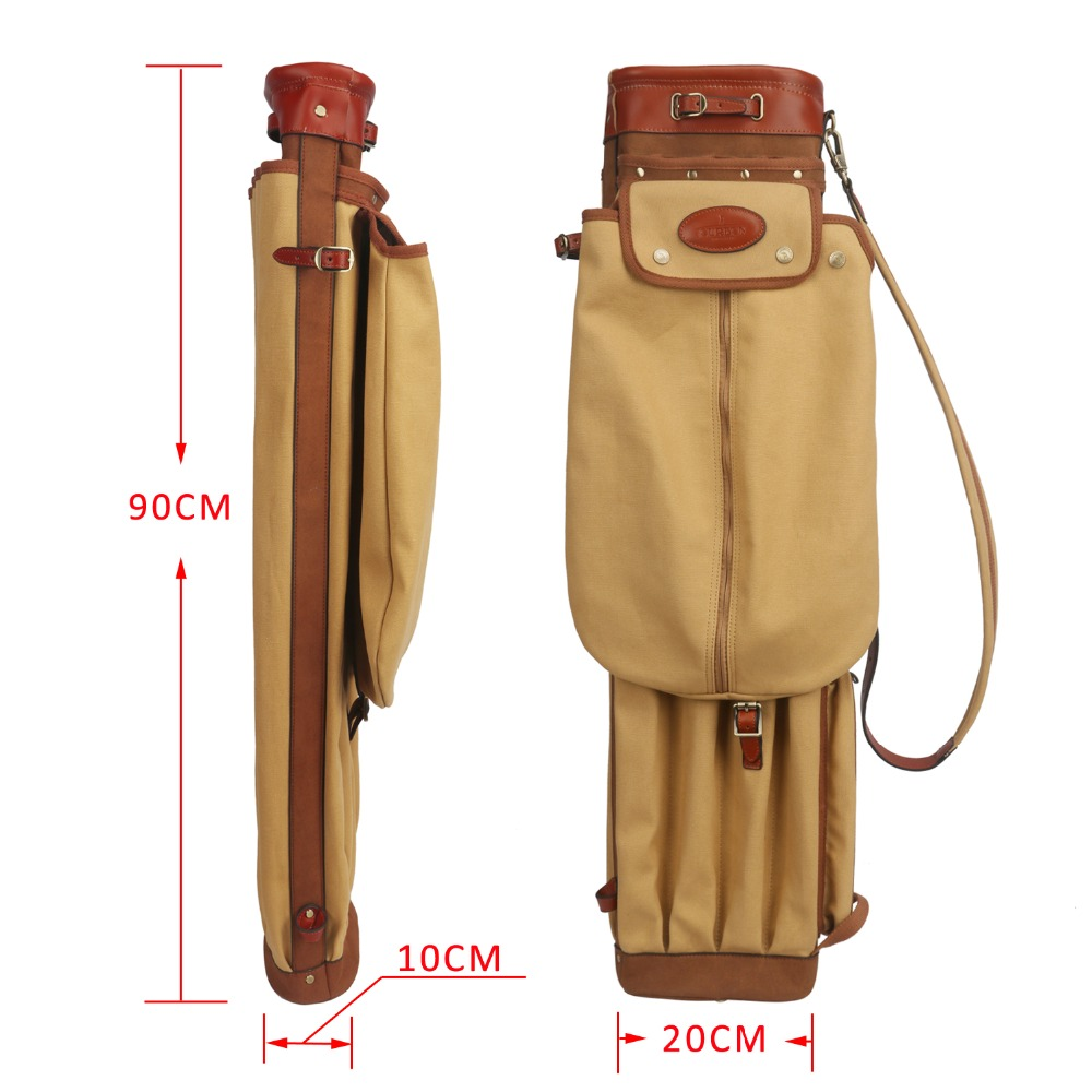 Image 4 - Tourbon Vintage Golf Club Bag Carrier Pencil Style Canvas & Leather Golf Gun Bags W/Pockets Clubs Interlayer Cover 90CMGolf Bags   -