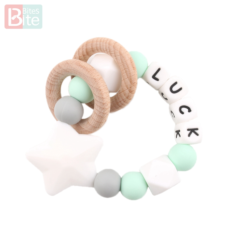 Bite Bites 1PC Baby Teether Customize Name Bracelet Silicone Star Beads Chewing Wooden Ring Trolley Rattle For Kids Products Toy