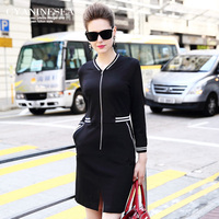 2015 autumn new arrival formal ol fashion all match step baseball long sleeve dress S M L XL free shipping