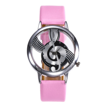 Crystal Women Fashion Leather Stainless Steel Musical symbol watch Case kadin kol saati zegarki damskie smart women clock