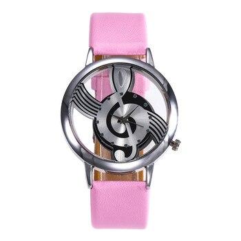 Crystal Women Fashion Leather Stainless Steel Musical symbol watch Case kadin kol saati zegarki damskie smart women clock