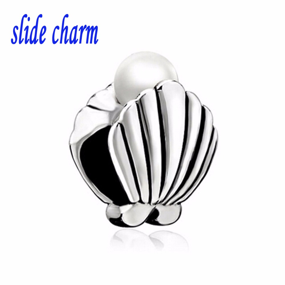 slide charm Free shipping pearl clam shell beads fit Pandora charm bracelet animal lover mother for Christmas