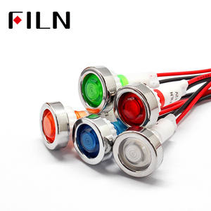 FILN 12v 220v  10mm led plastic indicator light signal lamp with 20cm cbale