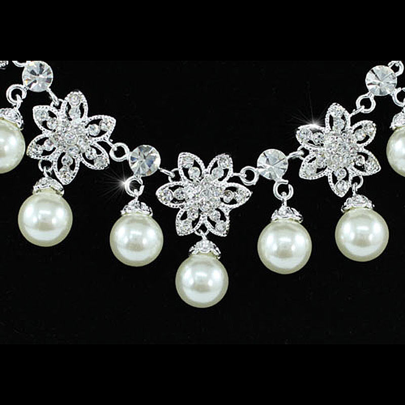 Wholesale Bridal Wedding Party Flower Cream Ivory Simulated Pearl Necklace Set CS1206