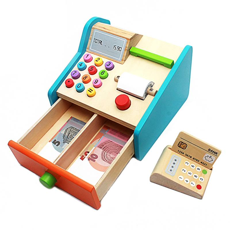 Baby Wooden Toy Simulation Cash Register Groceries Toys Real Life Cosplay Check Out Stand Play Game Educational Toy For Children