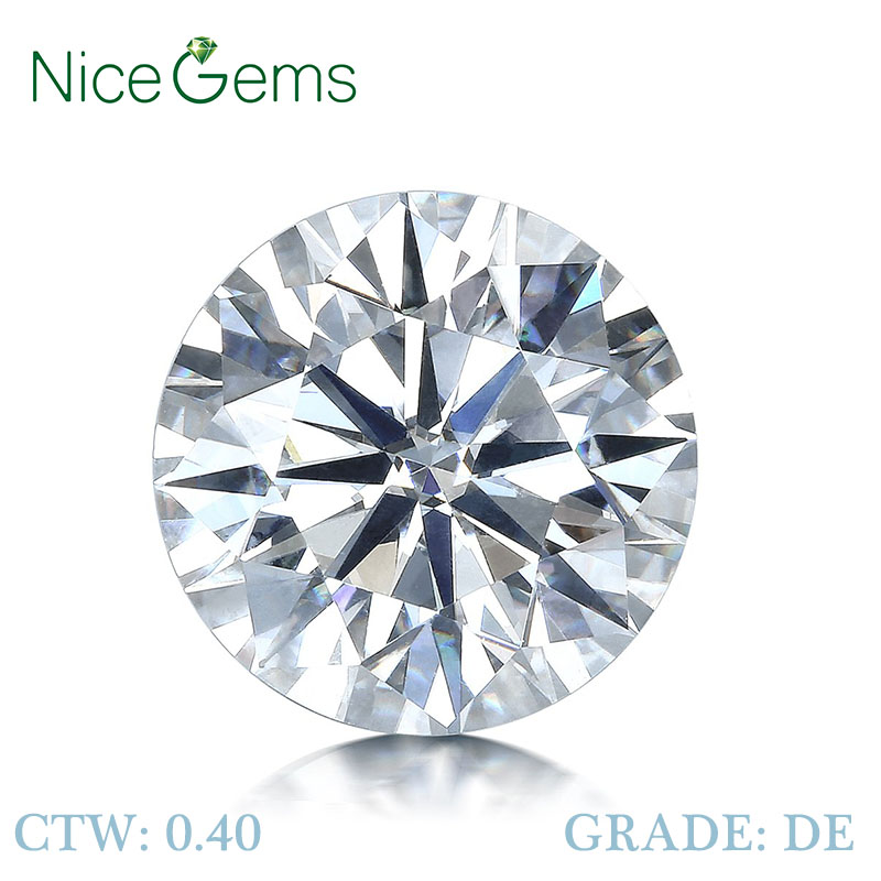 NiceGems 0.4CTW Moissanite D Color Round Excellent Heart And Arrows Cut Colorless 4.5MM lab Grown Diamond loose Stone VVS1