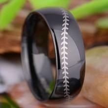 Top Selling cool men's Black Plated Baseball Ring Tungsten Ring Men's Wedding &engagement Band