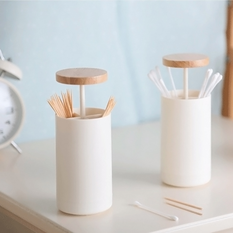 Automatic Pop-up Cotton Bud Swabs Toothpick Dispenser Case Home Hotel Decoration