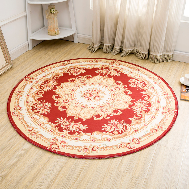 Jacquard European Style Round Carpets For Living Room Home Bedroom Rugs Anti-slip Computer Chair Floor Mats Absorbent Doormats