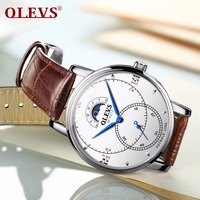 OLEVS 2018 New Fashion Mens Watches Business Moon phase Quartz Men Watch Leather Waterproof Male Wristwatches Relogio Masculino