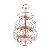 Three Layers Round Metal Cake Rack Rose Gold Dessert Display Shelf European Style Home Fruit Vegetable Plate Decoration