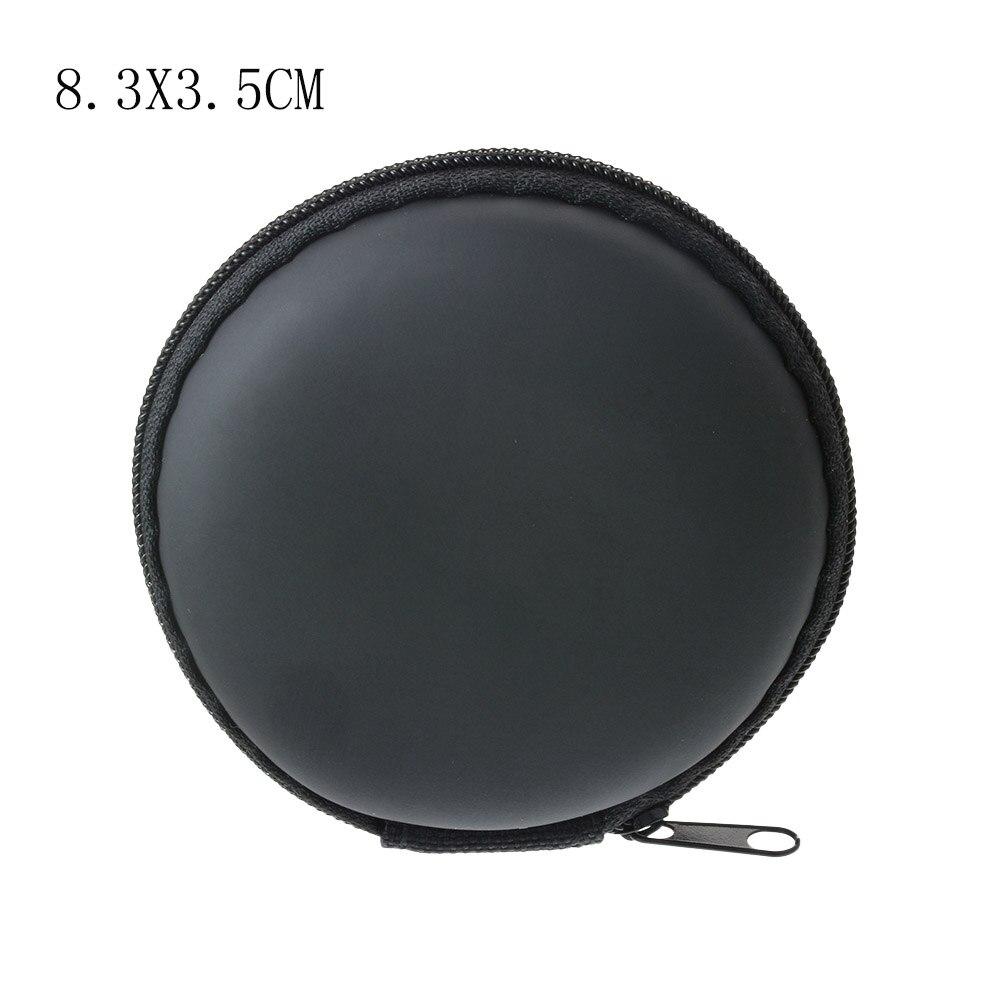 Чехол-контейнер для монет, наушников, защитная коробка для хранения, цветные наушники чехол для путешествий, сумка для хранения наушников, кабель для передачи данных, зарядное устройство - Цвет: Black Round 8.5cm
