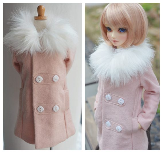 1/3 scale BJD clothes Fur collar woolen coat doll accessories for BJD/SD.Not included doll,shoes and other accessories NO0497 fashion gray coat for bjd 1 4 msd 1 3 sd17 uncle doll clothes accessories