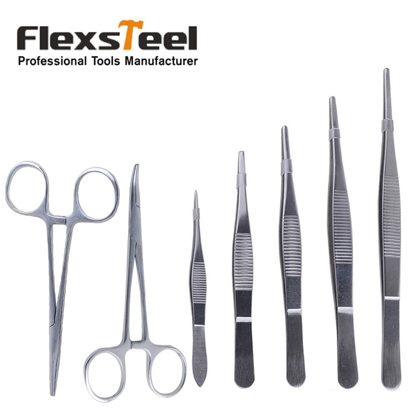 Flexsteel 7 Pieces Precision Stainless Steel Tweezers and Hemostatic Forceps Set for Medical Practice Anatomy Biology Fishing