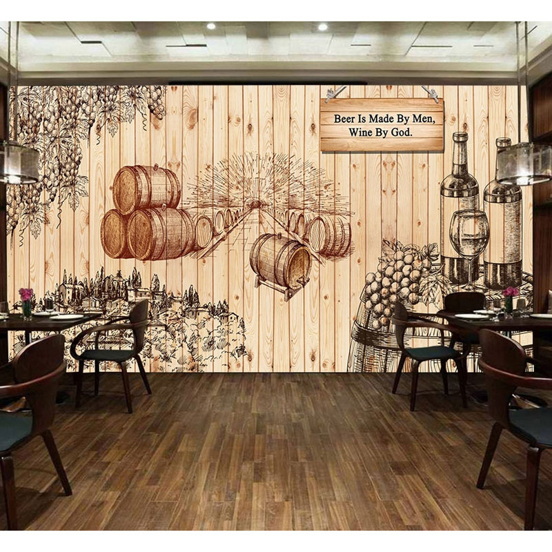 Painted Wine Photo Wallpaper Mural Vintage Bar Home Decor Wall ...