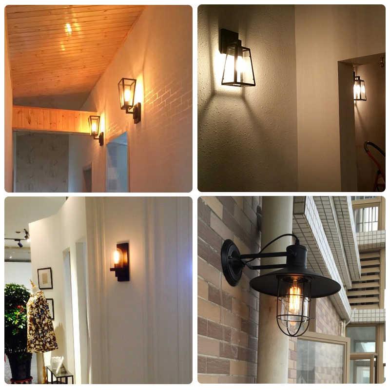 Demir Vintage gri cam lamba Edison işık gölge duvar lambası sadelik ev lambası Loft dekor lambası yatak odası banyo ışıkları