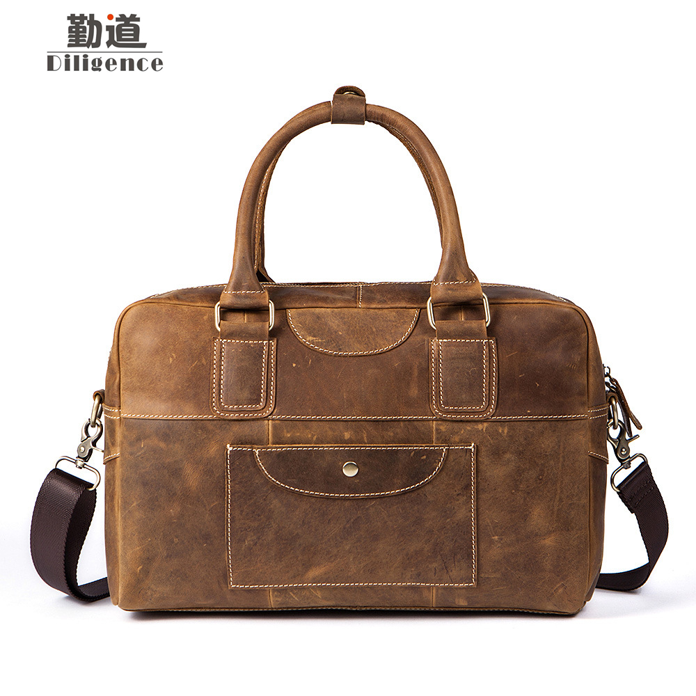 Genuine Crazy Horse Leather Handbag Short Distance Travel bag Vintage Business Laptop Baggage Men Shoulder Bags Briefcases vintage genuine leather men briefcase bag business men s laptop notebook high quality crazy horse leather handbag shoulder bags