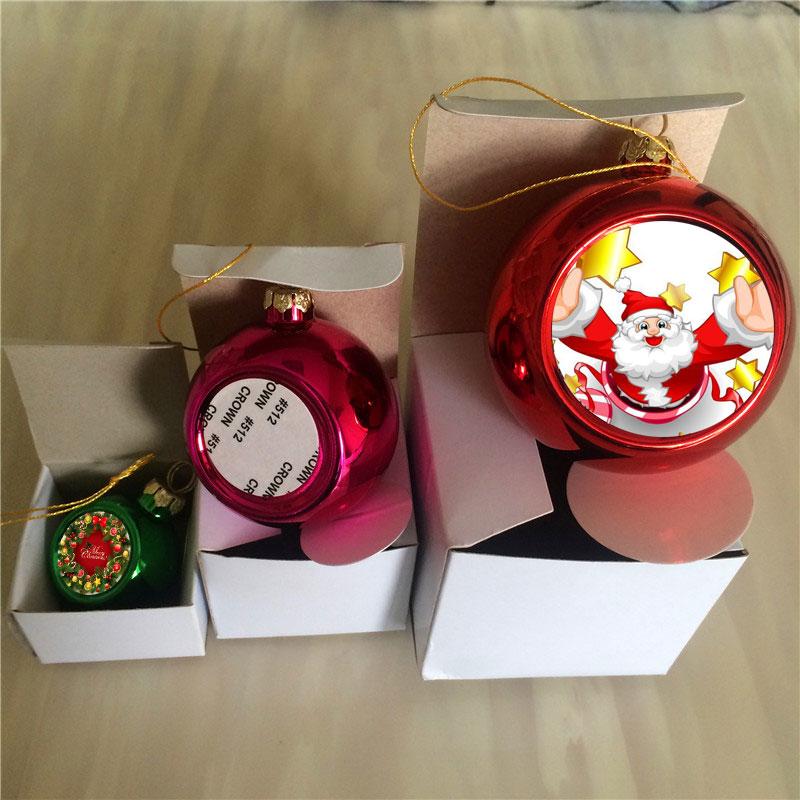 Ornamento do Natal Personalizado em Branco Sublimação Ball Charme Consumíveis Transferência Quente Faça Você Mesmo Presentes Personalizados Cores 48 6 Pçs – Lote