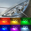Para Peugeot 307 2006 2007 2008 2009 2010 2011 2012 Excelente Angel Eyes Multi-Cor Ultra brilhante 7 Cores RGB LEVOU Angel Eyes kit