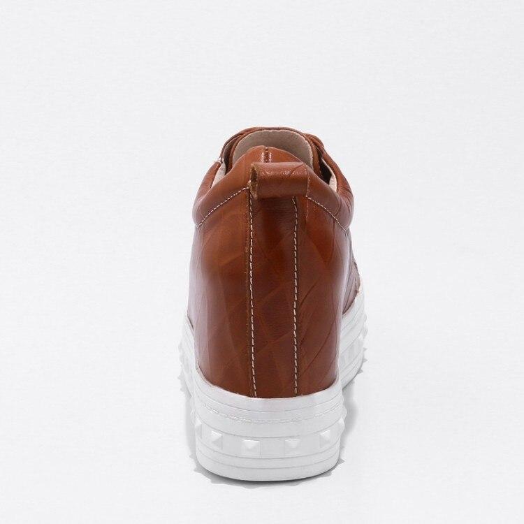 Lacets Mode À Nouvelle Loisirs Plate Cuir marron Noir Haute 2018 Pompes En Hauteur {zorssar} forme Femmes Véritable Talons Croissante Chaussures xAzfv4qw