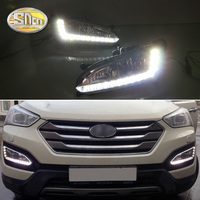 For Hyundai SantaFe IX45 2013 2014 2015 Santa fe Daytime Running Light DRL LED Fog Lamp House with fog hole