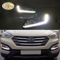 For Hyundai SantaFe IX45 2013 2014 2015 Santa fe Daytime Running Light DRL LED Fog Lamp House with fog hole