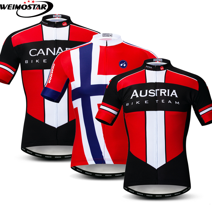 Canada Austria Noway Team Men Cycling Jersey Shirt Short Sleeve Maillot  Ropa Ciclismo MTB Bicycle Clothing 1c7252eb4