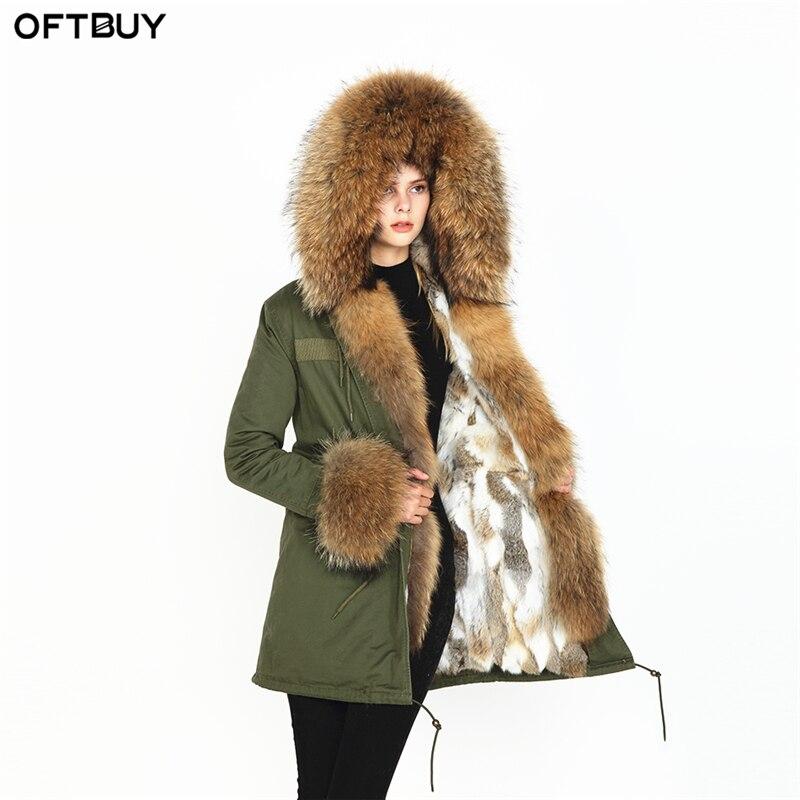 OFTBUY 2019 nouvelle parka réel manteau de fourrure veste d'hiver femmes raton laveur naturel col de fourrure chaud épais de fourrure de lapin doublure parkas Amovible