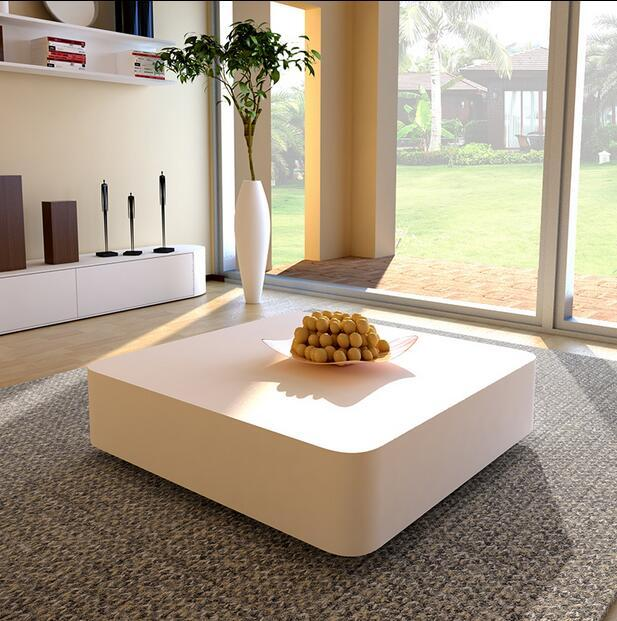 Square Gl Coffee Table Stylish Minimalist Modern Paint Tv Cabinet Ensemble Creative In Tables From Furniture On Aliexpress