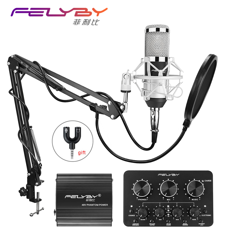 HOT! FELYBY bm 800 professional recording Condenser microphone set for computer with Phantom power and Multi-function sound card hot full set metal condenser microphone bm 800 bm 800 48v phantom power u type usb sound card studio mic computer microphone